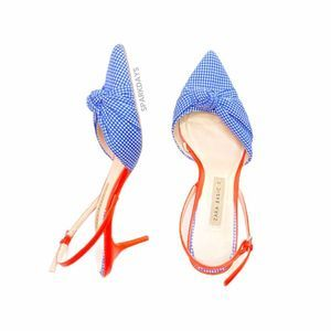 Zara Gingham Orange Slingback Kitten Heels | 36